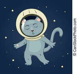 Sad cat in a spacesuit on the space background. square...