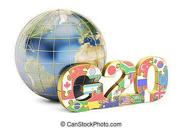 G20 concept with globe, 3D rendering isolated on white...