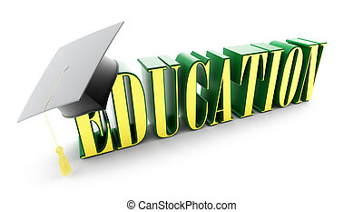 education and graduation cap isolated on a white background....
