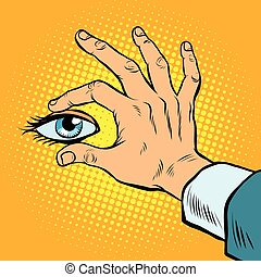 Retro hand holding eyes, pop art retro vector. View and...