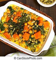 Pumpkin, Kale and Chickpea Casserole