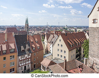 Nuremberg in Bavaria - aerial view of Nuremberg in the...