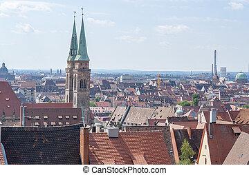 Nuremberg in Bavaria - aerial view of Nuremberg in the...