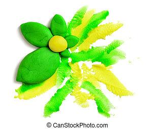 hecho, rosa, hojas, amarillo, verde, Plano de fondo,...