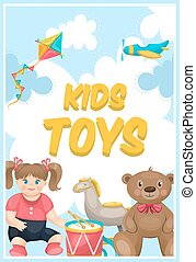Kids Toys Shop Poster - Toy shop colorful poster with kite...
