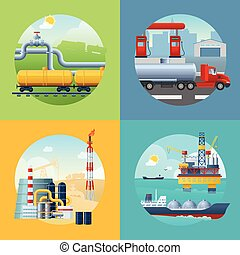 Oil Industry Banners Composition - Square composition with...