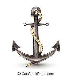 Realistic Anchor With Rope - Realistic shiny steel anchor...