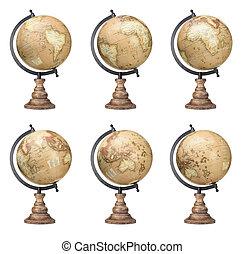 Set of old style world globes isolated on white background....