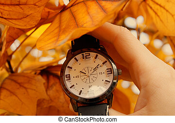 Autumn come with Clock isolated