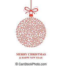 Christmas snowflakes red ball - Vector illustrations of...