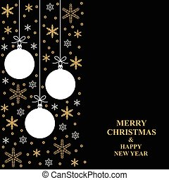 Christmas gold snowflakes and balls card vertical design