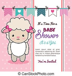 baby shower invitation with stuffed animal vector...