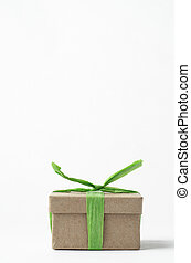 Simple Brown Gift Box Tied Up with Green Raffia Ribbon -...