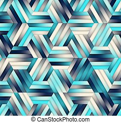 Vector Seamless Gradient Mesh Color Stripes Hexagon Grid in Shades of Navy Blue