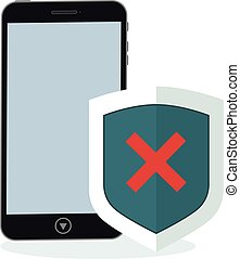 Phone and shield with a negative status of protection
