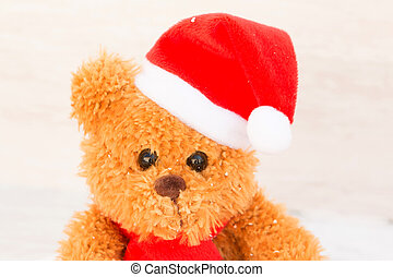 Cute teddy bear with Christmas hat