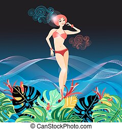 Beautiful graphics girl in a bathing suit - Vector beautiful...