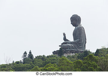 enormous Tian Tan Buddha at Po Lin Monastery in Hong Kong -...