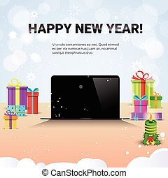 Decorated Workplace Laptop Computer Happy New Year Internet Christmas Sale Decoration