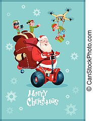 Santa Claus Ride Electric, Elf Flying Drone Present Delivery...