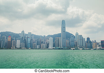 Skyline of Hong Kong city, view from Victoria Harbour