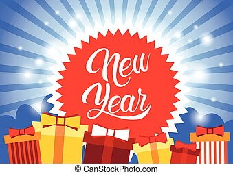 Happy New Year Decoration Greeting Card Celebration Banner...