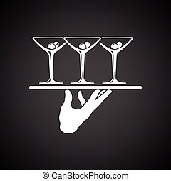 Waiter hand holding tray with martini glasses icon. Black...