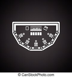 Poker table icon. Black background with white. Vector...
