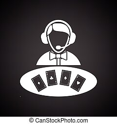Casino dealer icon. Black background with white. Vector...