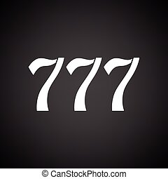 777 icon. Black background with white. Vector illustration.