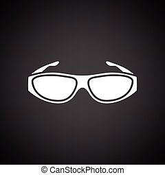 Poker sunglasses icon. Black background with white. Vector...
