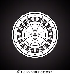 Roulette wheel icon. Black background with white. Vector...