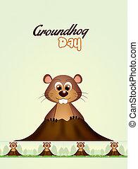 happy Groundhog day - illustration of happy Groundhog day