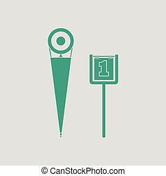 American football sideline markers icon. Gray background...
