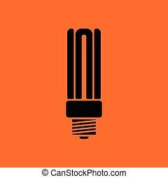 Energy saving light bulb icon. Orange background with black....