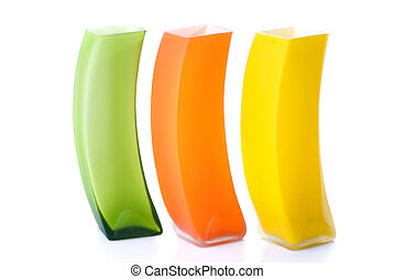 cor, vidro, Vasos, isolado, branca