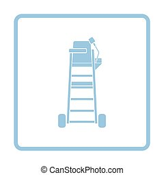 Tennis referee chair tower icon. Blue frame design. Vector...