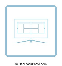 Tennis TV translation icon. Blue frame design. Vector...