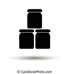 Baby glass jars icon. White background with shadow design....