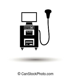 Ultrasound diagnostic machine icon. White background with...