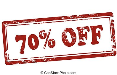 Seventy percent off - Rubber stamp with text seventy percent...