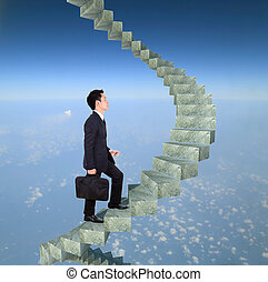 business man going upstairs in a curved staircase to success...
