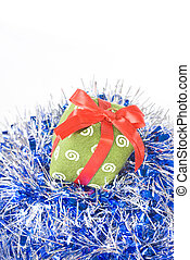 christmas gift with decoration isolated on white