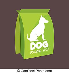 green bag delicious food dog icon vector illustration eps 10