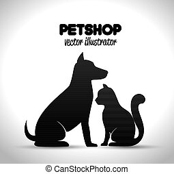 pet shop poster dog and cat silhouette