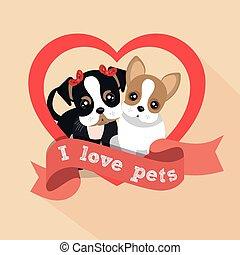 Coração, macho, Amor, Animais estimação, etiqueta, femininas,  doggy
