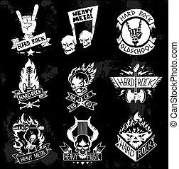 Heavy Metal rock badges vector set.