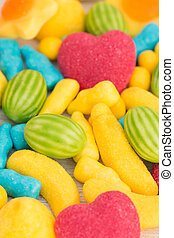 Candies with different shapes and colors