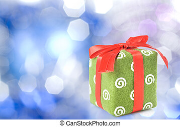 Gift on blue christmas background