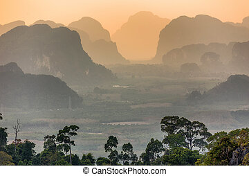 Silhouetted moutains - Viewpoint from the tiger temple ( Wat...
